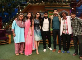 Bollywood actor Shradha Kapoor and Aditya Roy Kapoor promote OK Jaanu on the sets of The Kapil Sharma Show in Mumbai.