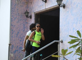 Bollywood actress Ileana D'Cruz arrive for her rehearsal at the Boscos studio in Mumbai on January 7, 2017.