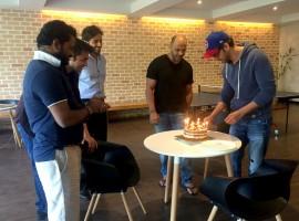 Photos of Bollywood actor Hrithik Roshan celebrates his birthday with Kaabil's team.