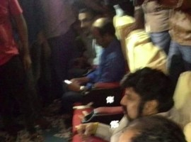 Actor Balakrishna, director Rajamouli watch Gautamiputra Satakarni benefit show with fans.