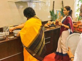 South Indian Superstar Rajinikanth celebrates Pongal festival with family.