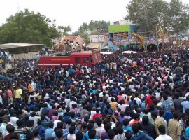 Thousands of people on Monday took to the streets in Madurai's Alanganallur town in Tamil Nadu protesting a ban against Jallikattu, the ancient and popular bull-taming sport.