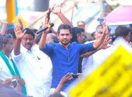 Music composer Hiphop Tamizha (Aadhi) at Jallikattu protest.