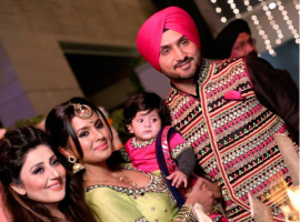 Photos of Harbhajan Singh and Geeta Basra celebrate Lohri festival with daughter Hinaya.