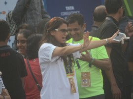 Bollywood actress Juhi Chawla spotted during the Mumbai Marathon 2017 on Jan 15, 2017.