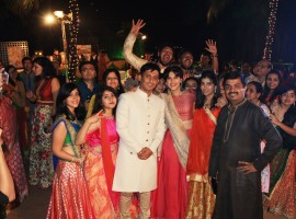 Taapsee Pannu decked as a barati looking pretty in pink and red took an entire wedding function by surprise when she almost gatecrashed a wedding ceremony. At a suburban hotel in Mumbai, with limited intimation to the bride's parents, Taapsee Pannu reached decked in Indian attire to surprise the to be bride and groom who were celebrating their traditional sangeet ceremony.