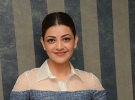 Photos of South Indian actress Kajal Aggarwal at Khaidi no 150 movie Interview.