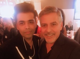 Bollywood filmmaker Karan Johar meets Hollywood superstar George Clooney at 47th World Economic Forum in Davos, Switzerland.