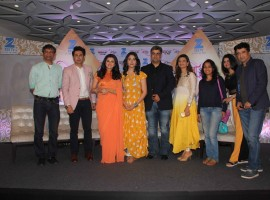 Deepak Rajadhyaksha, Zee deputy Business Head, Television actors Sudeep Sahir, Riddhi Dogra, Disha Parmar, Producer Siddharth Malhotra with wife Sapna Malhotra and Screenwriter Raghuvir Shekhawat during the launch of Zee TV new show Woh Apna Sa in Mumbai, India on January 17, 2017.