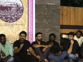 South Indian actor Silambarasan, Mahat and others protesting & sleeping on the streets outside actor Simbu's house.