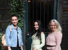 Bollywood actress Amy Jackson and Elli Avram spotted at pali village cafe in Bandra.