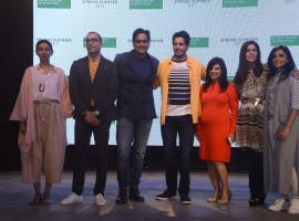 Ekta Rajani, Fashion Director, Grazia India, Neeraj Sachdeva, MD, Lakeforest Wines, Sundeep Chugh, CEO, Benetton India Pvt Ltd., Bollywood actor Sidharth Malhotra, Fashion designers Deepali Mishra, Anaita Shroff Adajania and Ami Patel during the launch of United Colors of Benetton's Spring Summer 2017 collection in Mumbai, India on January 18, 2017.