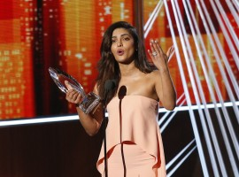 Actress Priyanka Chopra accepts the award for favorite TV Drama Actress at the People's Choice Awards 2017 in Los Angeles, California, U.S., January 18, 2017.