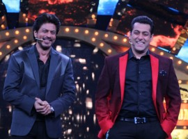 Bollywood actors Shah Rukh Khan with Salman Khan on the sets of Bigg Boss season 10 during the promotion of film Raees in Lonavala on January 20, 2017.