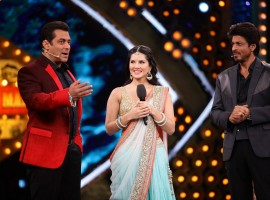 Salman Khan, Sunny Leone and Shah Rukh Khan on Bigg Boss Weekend Ka Vaar.