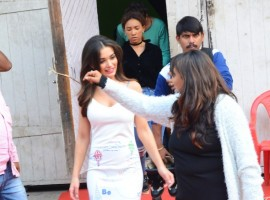 Bollywood actress Amy Jackson spotted at Mehboob studio.