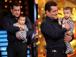 Bollywood actor Salman Khan shares a cute moment with nephew Ahil on the sets of Bigg Boss 10.