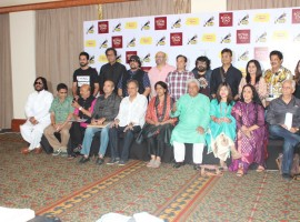 Bollywood singers Roop Kumar Rathod, music director Milind Srivastav, Lyricist Sameer Anjan, singers Suresh Wadkar, Shailendra Singh, Kavita Krishnamurthy, Lyricist Javed Akhtar, singers Alka Yagnik, Ila Arun, filmmaker Ramesh Sippy, (Back Row L to R) Bollywood actor Ayshmaan Khurrana, singers Talat Aziz, Louiz Banks, music composers Raju Singh, Lalit Pandit, music director Pritam, Poet Irshad Kamil, singers Sadhna Sargam, Udit Narayan during the jury meet of the 9th Radio Mirchi Music Awards in Mumbai.