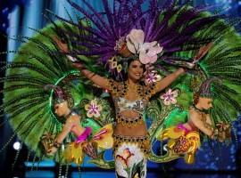 Panama's Keity Drennan competes during a national costume preliminary competition.