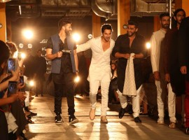 Bollywood actor Arjun Kapoor and Varun Dhawan walks ramp for Kunal Rawal at Lakme Fashion Week 2017.