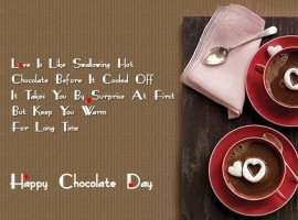 Life is like a chocolate box, Each chocolate is like a portion of life, Some are crunchy, some are nutty, Some are soft, but all are DELICIOUS. Happy Chocolate Day to my love one!