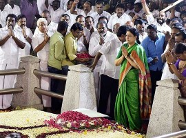 AIADMK General Secretary V.K. Sasikala visits Jayalalithaa's memorial.