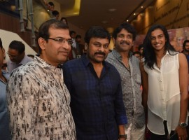 Telugu movie Om Namo Venkatesaya special screening held at Cinemax, Banjara hills in Hyderabad. Celebs like Akkineni Nagarjuna, Megastar Chiranjeevi, A Mahesh Reddy, Vimala Raman, Saurabh Raj Jain, K Ragavendra Rao, PV Sindhu, Nimmagadda Prasad, Vikram Kumar, Sushanth, Prasad V Potluri, Vamsi Paidipally, Manchu Manoj, Dil Raju, Naga Susheela, Akhil and others attended the event.