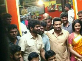 Suriya's Singam 3 (Si 3) success celebration on the sets of Thaanaa Serndha Koottam.