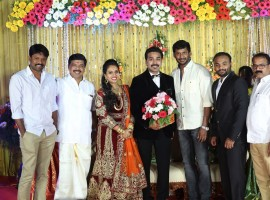 Mithun wedding reception held at Chennai. Celebs like Vishal, Napoleon, Suresh Kamatchi, Seeman, K Rajan, Sounthara Raja, Pon Radhakrishnan, T Siva, Ezhil, CP Radhakrishnan, Vanathi Srinivasan, Tamilisai Soundararajan, Aruldoss, Chaams, S. Balasubramanian Adityan (Chairman, Dinathanthi Group), Nikil Murugan and others graced the event.