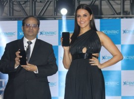 Bollywood actor Neha Dhupia during the launch of Centric Smart phones new range in Mumbai on February 15, 2017.