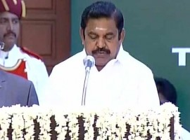 E. Palaniswamy, a loyalist of the now jailed AIADMK General Secretary V.K. Sasikala, on Thursday took oath as the new Chief Minister of Tamil Nadu. Governor C. Vidyasagar Rao administered the oath of office and secrecy to Palaniswamy and his ministers at the Raj Bhavan.