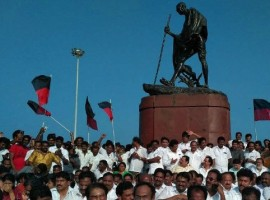 DMK Working President M.K. Stalin on Saturday sat in protest near the Mahatma Gandhi statue on Marina beach against the manner in which he and his party legislators were evicted from the state assembly. Earlier, he met Tamil Nadu Governor C. Vidyasagar Rao and lodged a complaint against the happenings in the assembly.