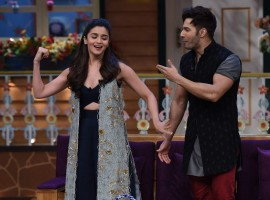 Bollywood actors Varun Dhawan, Alia Bhatt promote Badrinath Ki Dulhania on the sets of The Kapil Sharma Show  in Mumbai, India on February 19, 2017.