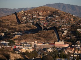 The U.S. border with Mexico is seen in Nogales, Arizona.