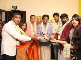 Niharika movie Pooja held in Chennai. Celebs like Vijay Sethupathi, Gautham Karthik, Niharika Konidela and others graced the event.