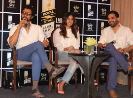 Filmmaker Sumit Arora, actors Kritika Kamra and Kunal Kapoor during the special screening of short film 'White Shirt' in Mumbai on February 20, 2017.