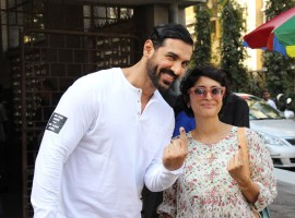 BMC Election 2017: Bollywood actor John Abraham and Aamir Khan's wife Kiran Rao cast their vote at St Anne's Church in Mumbai.