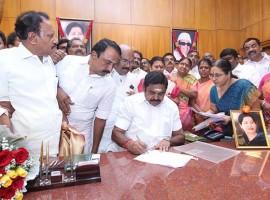 Chief Minister of Tamil Nadu Edappadi Palaniswami takes charge at Secretariat in Chennai on February 20, 2017.