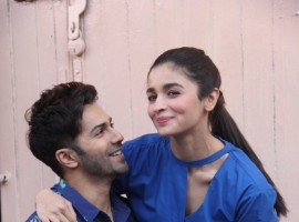 Bollywood actors Varun Dhawan and Alia Bhatt spotted at Mehboob studio.