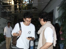 Bollywood actor Govinda with his son spotted at Sunny Super Sound in Mumbai.