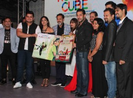 Bollywood actor Salman Khan and Iulia Vantur at the music launch of Marathi film Rubik's Cube.