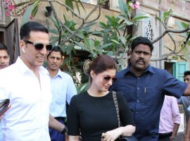 Bollywood actor Akshay Kumar and Twinkle Khanna spotted at cafe in Bandra.