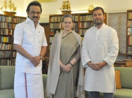 A day after DMK leader M.K. Stalin met President Pranab Mukherjee and submitted a memorandum on the events that took place in Tamil Nadu assembly last week, he met Congress President Sonia Gandhi on Friday and discussed the political situation in the state.