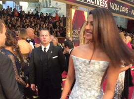 Indian actress Priyanka Chopra, in a body-hugging gown by designer label