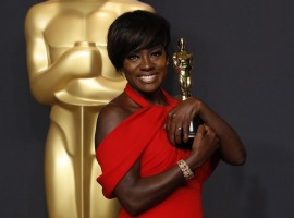 "Actress Viola Davis poses with her Oscar for Best Supporting Actress for the film ""Fences"