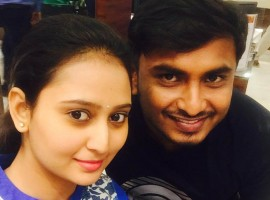 South Indian actress Amulya with her husband to be Jagadeesh pictures.
