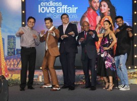 Bollywood actors Varun Dhawan and Alia Bhatt spotted during the press conference of Singapore Tourism Board to promote film Badrinath Ki Dulhania in Mumbai on February 27, 2017.