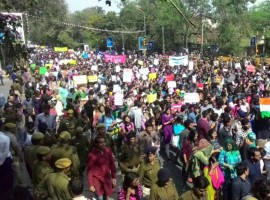 A large number of students on Tuesday protested in Delhi University against the ABVP after it was accused of attacking students, lecturers and journalists in the campus. The students massed outside the Khalsa College shouting slogans against the Akhil Bharatiya Vidyarthi Parishad and Delhi Police over the February 21-22 disturbances in the university campus.