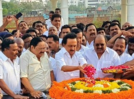 DMK party's Working President M.K. Stalin visits Jayalalithaa Memorial on his 65th birthday.