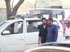 Bollywood actor Amit Sadh spotted at Bandra during the on location shooting of Sarkar 3.
